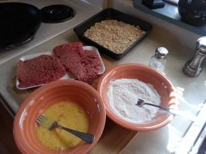 Eggs, flour, crumbs, cube steak, salt & Pepper